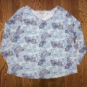 J. Jill Blue Paisley Top Blouse Plus Size 1X